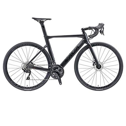 SAVADECK Carbon Road Bike, T800 Carbon Fiber Frame 700C Racing Bicycle with 105 R7020 22 Speed Groupset Carbon Wheelset and Hydraulic Disc Brake (Black, 54CM)