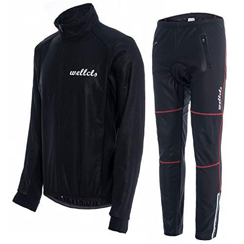 Wellcls(ウェルクルズ) 冬用 サイクルジャケット 上下セット 防風 ウインドブレーク サイクリング 黒×赤 XL