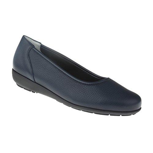 Natural Feet Damen Ballerina Johanna | Echtes Hirschleder | Weite H | Hallux geeignet 44 blau