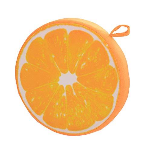 Milopon Sitzkissen Stuhlkissen Polster Hochlehner Auflage Früchte Flanell Rund Sitzauflage für Stühle Gartenmöbel (Orange)