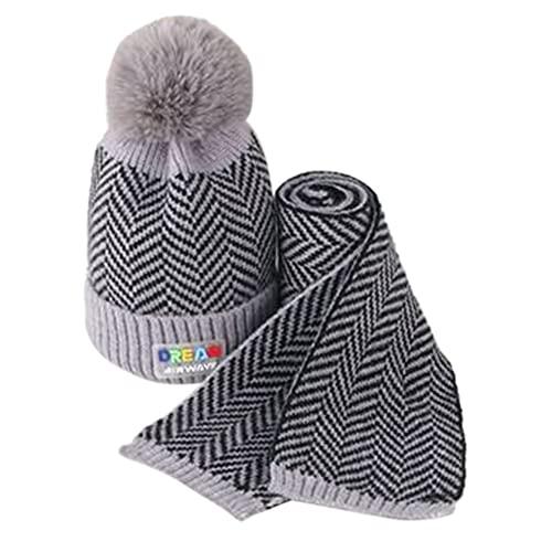 iSunday (2 sombreros de bebé para invierno, sombrero de punto, para niños, otoño e invierno, lana cálida, gorro de lana para bebé, gorro de punto para niños (gris)