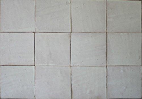1m² große weiße Zellige Fliesen 20x20x2cm - Handarbeit marokkanische Wandkacheln