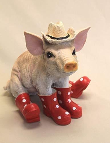 Vamundo Sitzendes Deko Schwein mit Hut und Gummistiefel rot # Ferkel # wetterfest