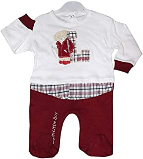White and Red Bunny Printed Overall Bodysuit Romper for New Born Little Baby Boys (0-3 M till 9 M)