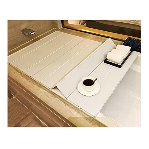 Badewannenabdeckung, wasserdichte PVC Badewannenbretter Faltbare Dämmplatte Badewannen Staubdichtes Brett für Hause, Badezimmer, SPA Erfahrung, Weiß