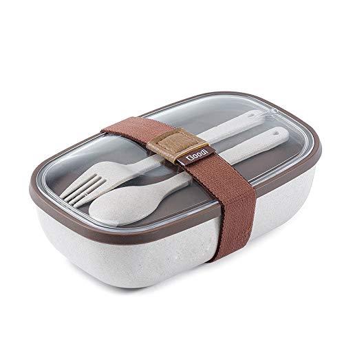 DCGSADFW Leakproof lunchbox met 2 lagen en de partitie, herbruikbare bestekbak, magnetron, koelkast, vaatwasser, kinderen volwassenen