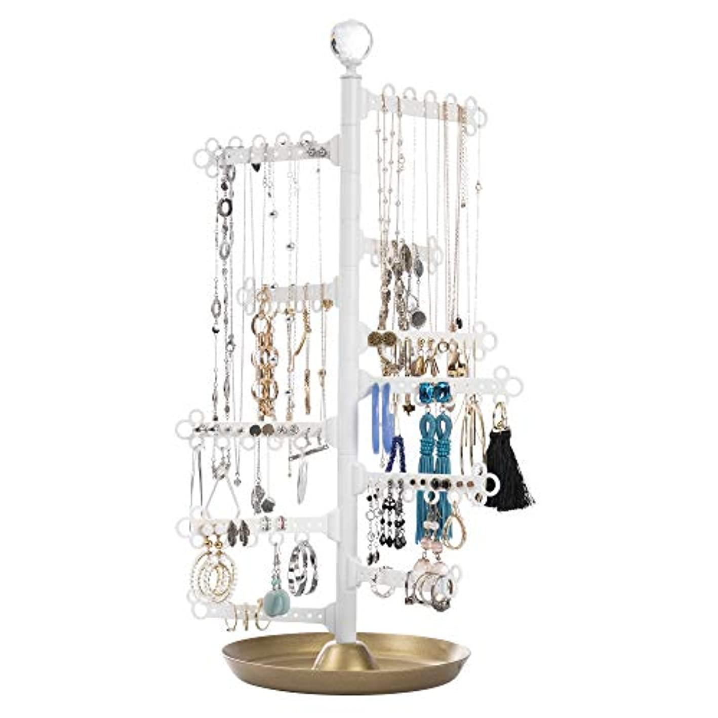 All Hung Up 12-Tier Extra Capacity Jewelry Organizer Holder Stand Tower Tree with Dish/Tray - Display Everything - Necklaces, Earrings (110 Pairs), Rings, Bracelets - Limited Edition: Gold/White