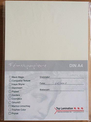 25 Blatt DIN A5 hell-creme farbiges Papier Karton 320g/m² komplett durchgefärbt, Bastelpapier dick, Bastelkarton farbig