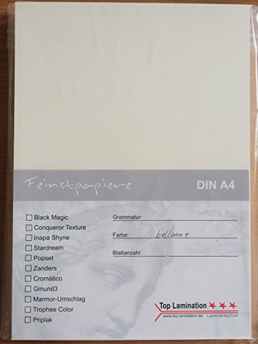 Top Lamination 100 vellen A4 lichtcrèmekleurig papier, 90 g/m2, volledig gekleurd, printpapier
