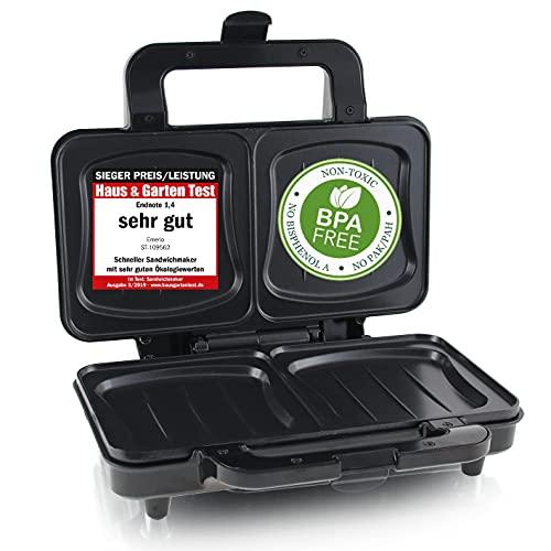 Emerio Sandwichera XXL apta para todos los tamaños de tostadas, sin BPA, forma de concha, fácil de limpiar, queso no gotea, ganador de precios/rendimiento, prueba 03/2019, 900 W