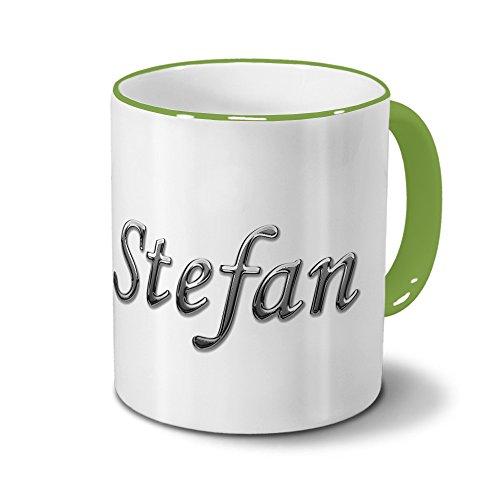 Tasse mit Namen Stefan - Motiv Chrom-Schriftzug - Namenstasse, Kaffeebecher, Mug, Becher, Kaffeetasse - Farbe Grün