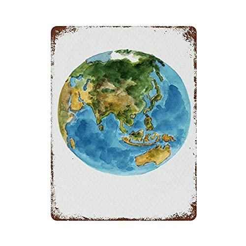 Vintage tennskylt planet jordfärger abstrakt akvarell dekor blå grön gul brun glob konst vägg skylt geografi världskarta Australien Nya Zeeland Japan 40 cm x 30 cm