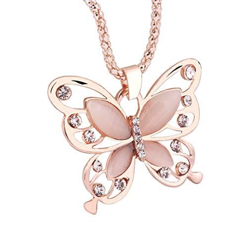 Mode Frauen Pullover Halskette Strass Anhänger Halskette Charme Lange Kette Halskette Halsschmuck für Damen Mädchen von SamGreatWorld, Schmetterling