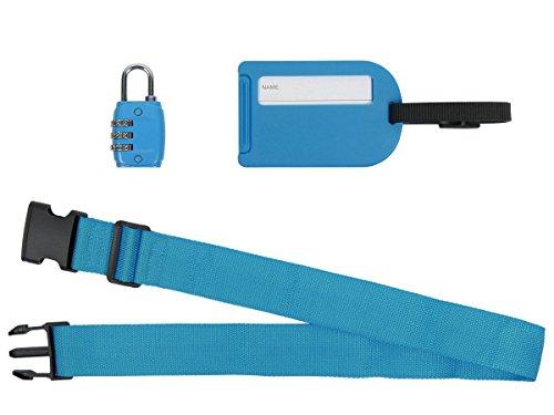 Reise-Set 3 TLG. Koffergurt Gepäckschloss Gepäckanhänger Koffer Gepäck von Alsino, Variante wählen:P781021 blau