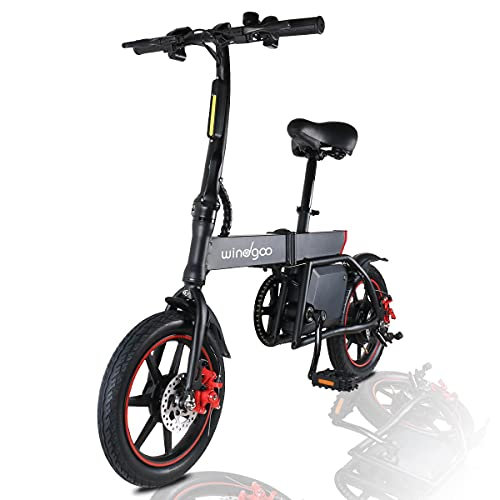 Windgoo B20 Electric Bike, 14 inch Foldable and Commuting E-Bike, 350W Motor with a 42V 6.0Ah Lithium Battery, Max Speed 25km/h with Dual Disc Brake City Electric Bicycle for Adults