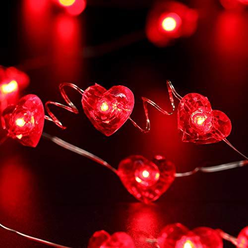 Luz de Cadena de Corazón Rojo 13 ft 50 LEDs Guirnalda de Luces Decorativa de San Valentín Decoración de Boda Alimentado por Batería con 12 Modos, Remoto y Temporizador para Aniversario
