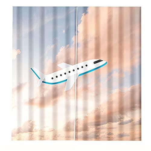 FACWAWF Cortinas Azules Y Blancas De Impresión 3D para Decoración De Cortinas Caseras 2xW168xH229cm B