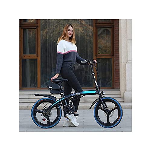 Bicicleta Eléctrica 7 Velocidad Velocidad Velocidad Ebike Extraíble Litio Ion Batería High Carbon Acero E-bike 20 'plegable Adulto All Terreno Electric Mountain Bike Outdoor Riding T(Color:Azul negro)