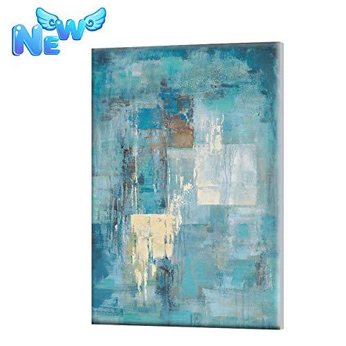 Enweonga Pintado A Mano Abstracto Lienzo Arte, Minimalista Pinturas Al Óleo Turquesa Azul Acrílico Pintura, Modernos Pared Arte para La Decoración Casera,32'*48'(80 * 120cm)