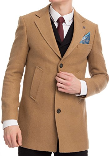 CARISMA Herren Mantel Casual Business Outfit Wollmantel Mix Kurzmantel Überzieher Trenchcoat Verschiedene Größen Camel XXL