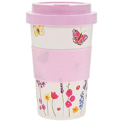 KWH Pink Pretty Butterfly - Tazas de café reutilizables de fibra de bambú (350 ml), diseño de mariposa, color rosa