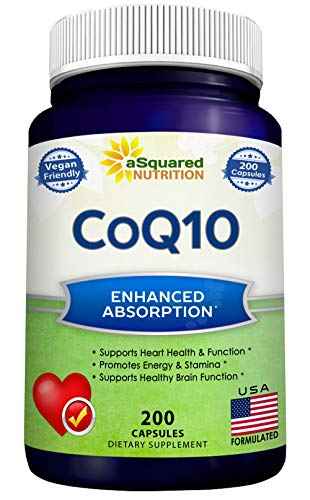 CoQ10 (400mg Max Strength, 200 Capsules) - High Absorption Vegan Coenzyme Q10 Powder - Ubiquinone...