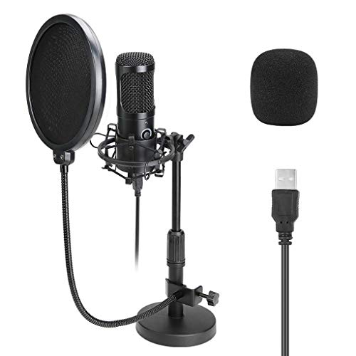 YWSZJ Tabletop USB Microphone Karaoke Studio Condenser Microphone for PC Computer Streaming Recording Mic Stand Pop Filter