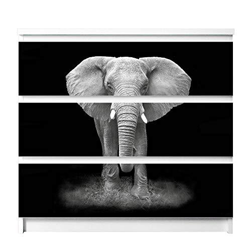 banjado Möbelfolie passend für IKEA Malm Kommode 3 Schubladen | Möbel-Sticker selbstklebend | Aufkleber Tattoo perfekt für Wohnzimmer und Kinderzimmer | Klebefolie Motiv Ella