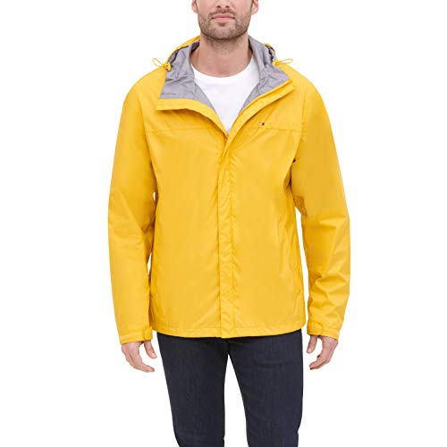 Mens Waterproof Breathable Windbreak Yellow Hooded Jacket