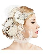 ArtiDeco Damska opaska na włosy inspirowana pawimi piórami w stylu lat 20. XX wieku, inspirowana Great Gatsby, damska opaska do kostiumu