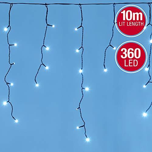 Icicle Lights 360 LED Outdoor Christmas Lights 10M Lit...