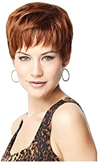 XPRETTY WIGS Women Short Curly Red Brown Hair Wigs Synthetic Heat Resistant Frizzy Wig with Bangs Natural as Real Hair for Daily Use or Costume Party