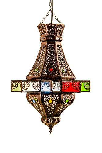 Orientalische Lampe Pendelleuchte Bunt Alem 50cm E27 Lampenfassung | Marokkanische Design Hängeleuchte Leuchte aus Marokko | Orient Lampen für Wohnzimmer Küche oder Hängend über den Esstisch