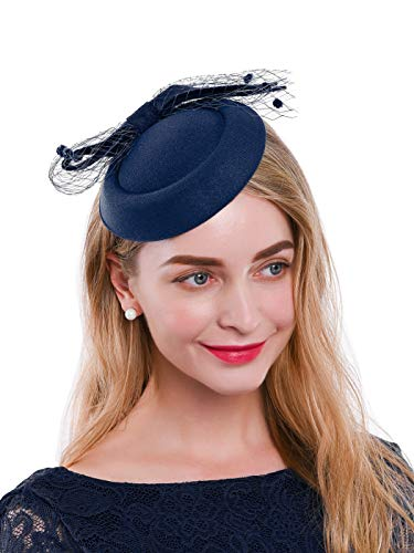 Zivyes Fascinator Hats for Women Pillbox Hat with Veil Headband and a Forked Clip Tea Party Headwear (3-Navy)