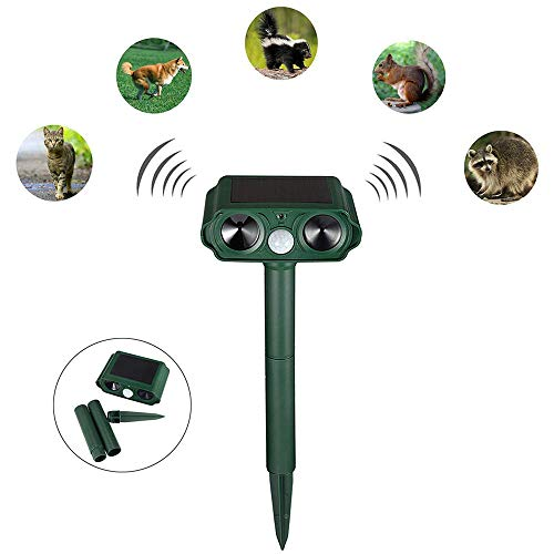 Katzenschreck Tier Reflektor Solar Ultraschall Reflektor Tier Wasserdicht Reflektor Solar mit Akku und Blitz, Tiervertreiber, Ultraschall für Katzen Hunde, grün