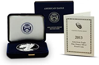 2013 W American Silver Eagle With Velvet Box & COA $1 Proof US Mint