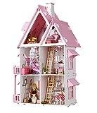 cuoou Casa de muñecas de Madera Muebles de casa de muñecas de Moda Juguete para niñas Juguetes de Bricolaje para niños Castillo Grande Regalo de niños Hecho a Mano Casa de muñecas Grande