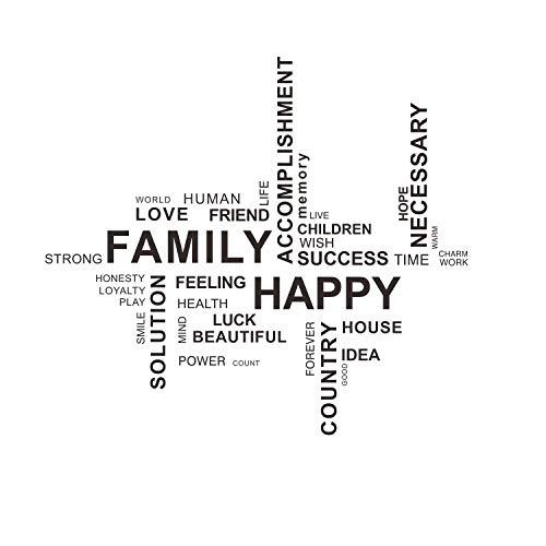 "decalmile \""Family Happy Pegatinas De Pared Irregular Letras and Frases Desmontable Adhesivos Pared Decorativos para Salon Dormitorio"