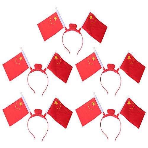 KESYOO 5 Pcs LED Allument Bandeau Drapeau Chinois Rougeoyante Cerceau de Cheveux Mini Drapeau à Main Fermoirs de Cheveux pour Postiche Fête Parc de Vacances Photo Approvisionnement