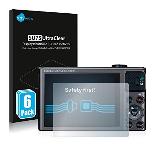 savvies Protector Pantalla Compatible con Canon PowerShot SX620 HS (6 Unidades) Pelicula Ultra Transparente