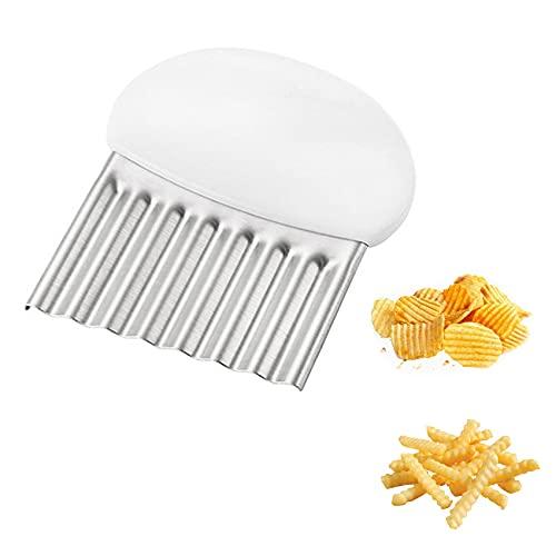 JeoPoom Pommes Wellenmesser, Kartoffelmesser, Gemüsehobel Wellenschneider Edelstahl, Küchengerät Schneidewerkzeug, Obst Gemüse Salat Schneider Werkzeug(Weiß)