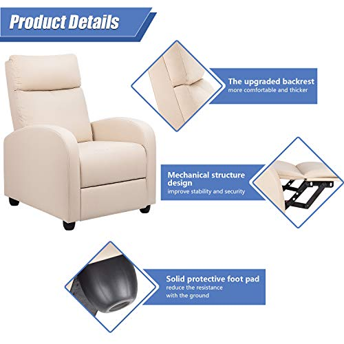 Tuoze Recliner Chair Massage Modern PU Leather Recliners Chair Adjustable Home Theater Seating with Sofa Padded Cushion (Beige)
