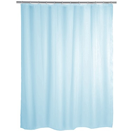 """MSV Anti-Schimmel Duschvorhang - Anti-Bakteriell, waschbar, wasserdicht, mit 12 Duschvorhangringen - Polyester, """"Hellblau"""" 240x200cm"""
