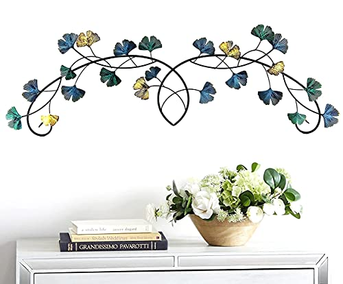 Bellaa Metal Wall Art Flower Ginkgo Leaf Abstract Blue Scroll Hanging Celtic Sculpture Home Decor Rustic Japanes Style Golden Blue Turquoise 39 inch
