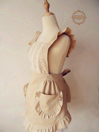 (ミワトモ)MIWATOMOかわいいフリルレース高級エプロンドレスおしゃれ上品結婚お祝い女性用ギフト(ベージュ)