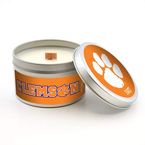 Worthy Promo NCAA Clemson Tigers Travel Tin Candle (5.8 oz) with Wood Wick, Citrus Scent, Gray, 5.8-Ounce
