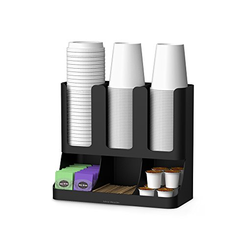 Mind Reader 6 Compartment Upright Breakroom Coffee Condiment and Cup Storage Organizer, Black, 13.5 x 4.30 x 12