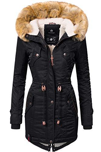 Navahoo Damen Winter Mantel Winterparka La Viva Schwarz Gr. M