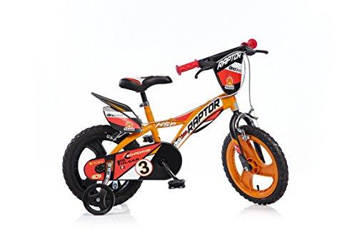 Raptor Jungen Kinderfahrrad Orange Jungenfahrrad – 14 Zoll   TÜV geprüft   Original   Kinderrad mit Stützrädern - Das Fahrrad als Geschenk für Jungen