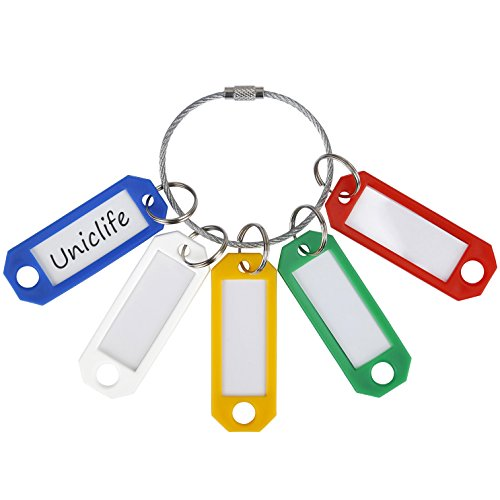 Uniclife 35 Pack Plastic Key Tags with Split Rings Label Window Assorted Colors with 2 Stainless Steel Wire Ring Loop